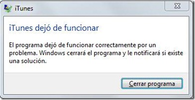 itunes dejo de funcionar window 7